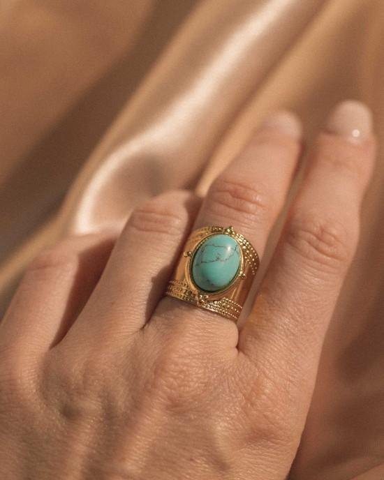 Athena Ring Gold Turquoise